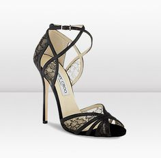 New for Spring Summer, this romantic sandal is made from fine black glitter and delicate French chantilly lace. Heel height measures 120mm/4.7