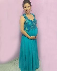 Find More Evening Dresses Information about Abendkleider Lang 2016 Elegant Evening Dresses for Pregnant Women Cheap A Line Blue Chiffon Appliques Party Dresses,High Quality dresses for girls age 12,China dress up girls dresses Suppliers, Cheap dresses line from jmrdress7 on Aliexpress.com