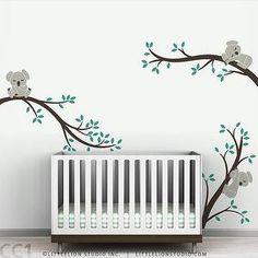 Art/Wall Decor - Kids wall decal nursery tree by LeoLittleLion on Etsy - koala, bears, brown, gray, teal, wall, decal, nursery, kids,