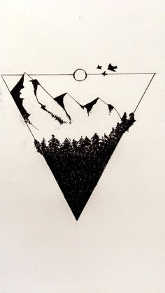 Ink drawing. Mountains & Forrest