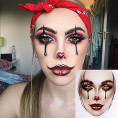 Black and burgundy Halloween makeup Halloween Makeup Clown, Amazing Halloween Makeup, Halloween Eyes, Halloween Inspo, Clown Makeup, Halloween Kostüm, Costume Makeup, Circus Makeup, Halloween Costumes