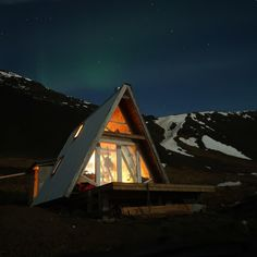A-frame, West Coast Iceland Built by Egill Örn Bjarnason / Leave it better than you found it. A Frame Cabin, A Frame House, Lofts, Serenity Now, Tiny House Cabin, Lake George, Cabin Plans, House Plans, Cozy Cottage