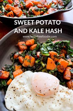 Kale and Sweet Potato Hash - A Great Lectin Free Breakfast! - Lectin Free Foodie Sweet Potato Kale, Sweet Potato Recipes, Potato Hash, Vegetable Recipes, Vegetarian Recipes, Cooking Recipes, Healthy Recipes, Recipes With Kale, Sweet Potato Breakfast Hash