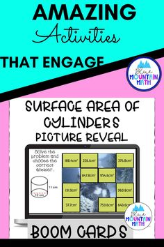 Are you looking for an interactive and self-correcting resource to review finding the surface area of cylinders with your students? There are 2 different pictures with 16 problems for each picture. Students start with the picture totally covered by the answer boxes. As they answer each question correctly, more and more of the covered picture is revealed.