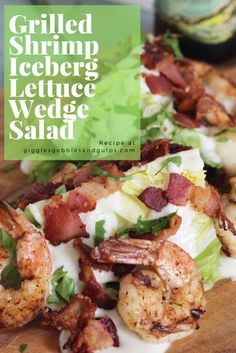 Break out the grill and enjoy Summer seafood and vegetables with this easy and elegant Grilled Shrimp Iceberg Lettuce Wedge Salad. Lettuce Wedge Salad, Iceberg Wedge Salad, Shrimp Salad, Grilled Shrimp, Grilled Meat, Wedge Salad Recipes, Lettuce Recipes, Bbq Pork Ribs, Pork Rib Recipes