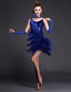 6de6cc5aad1f [$39.99] Latin Dance Dresses Women's Performance Polyester / Lycra Sequin /  Tier / Split Front Short Sleeves / Sleeveless High Sexy Global Gals Dress  ...