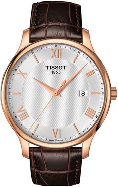 Men's Tissot classic rose gold watch Swiss movement and leather strap #classy #fashion #mensfashion
