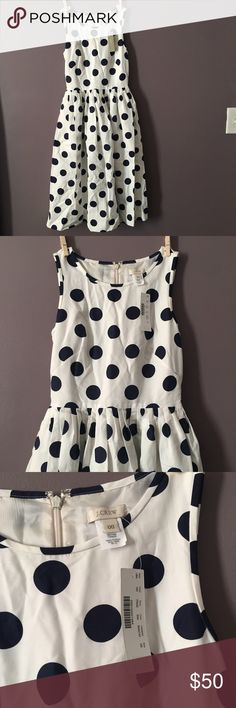 NWT j crew polka dot dress NWT 70% cotton 30% silk blue and white polka dot j crew dress!! Gorgeous. Might need to be dry cleaned as it has been in storage. I moved and forgot I had it. Fits like a 0 not a 00 J. Crew Dresses