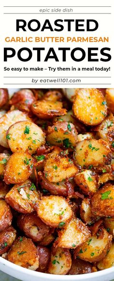 Roasted Garlic Butter Parmesan Potatoes Recipe - recipe poatoes sidedish - These epic roasted potatoes with garlic butter parmesan are perfect side for your meal! Potato Side Dishes, Potato Sides, Vegetable Dishes, Side Dishes For Chicken, Recipe For Potato Dishes, Recipes Potatoes Side Dishes, Side Dishes For Party, Good Side Dishes, Potato Meals
