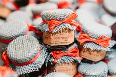 Blue burlap adds extra rustic charm to these sweet treats!