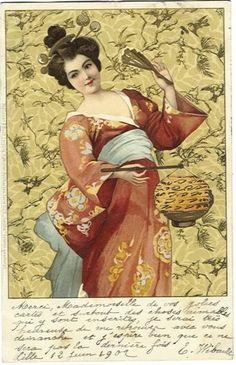 Pair of Antique German Issue Japanese 'Geisha' Postcards 1902 Japanese Geisha, Vintage Japanese, Japanese Style, Japanese Kimono, Art Nouveau, Chinese Lanterns, Art Deco Furniture, Japan Art, Vintage Postcards