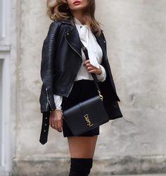 Black leather jacket, white shirt, mini skirt and YSL bag for chic outfit. #blackonwhite #miniskirt #leatherjacket #whiteshirt #ysl #fabfashionfix