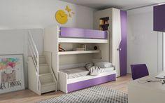 Cameretta salvaspazio Mistral: letto superiore in-out con camminata interna, armadio attrezzato di appendiabiti e illuminazione, zona studio e basi con cassetti.