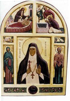 New Martyr St Elizabeth (polychromed carving) - Aidan Hart Sacred Icons