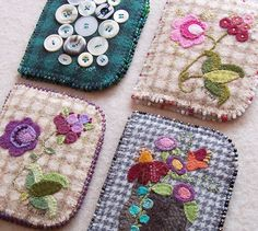 Pretty applique works with felt: Needlekeepers, Needlebooks, Pincushions.Lots of ideas at this site Felt Crafts, Fabric Crafts, Sewing Crafts, Sewing Projects, Sewing Kits, Needle Case, Needle Book, Silk Ribbon Embroidery, Hand Embroidery