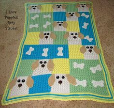 """I Love Puppies!"" Baby Blanket by Shelli Steadman  Pattern in the July 2011 issue of Crochet! magazine"