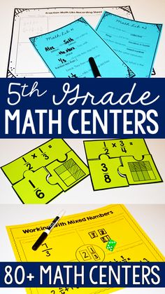 All the fifth grade math centers you need for the entire year! Are you wanting to implement math centers with your graders? This resource includes over 80 grade math centers that are rigorous, engaging, and ink-saving. 5th Grade Math Games, Math 5, Teaching 5th Grade, Fifth Grade Math, Guided Math, Teaching Math, Math Teacher, Math Strategies, Math Resources