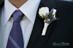 Sarah & Glenn at Estancia La Jolla. Purple boutonniere and white flowers - lovely!