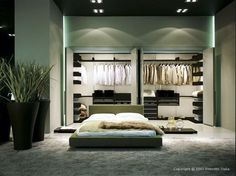 Modern Stylish Masculin Walk in Wardrobe in a Big Bedroom