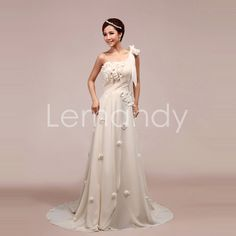 one shoulder A line chiffon with flowers formal gown in handmade. $175.00, via Etsy.