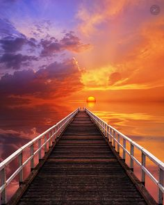 ~~ Dive Into a Hot Summer Day ... ~ sunset, pier, seascape and clouds by Yannick Lefevre~~
