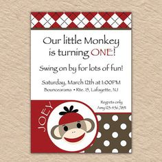 Boy Sock Monkey Birthday Invite  PRINTABLE INVITATIONS by Quax, $12.00  This will be the Twins First Birthday Invites.