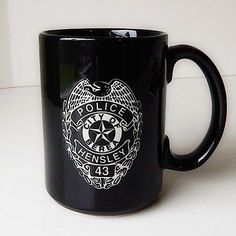 City Police Mug Berea Big Black Coffee Cup White Design Hensley 43 Linyi 15 Oz | eBay