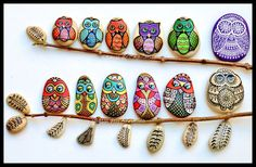 Some of my very first #owls I painted on stones years ago :) #paintedstones