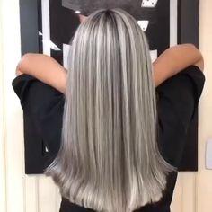 Hair transformation Hair transformation By: Silver Blonde Hair, Blonde Hair Looks, Silver Hair Colors, Grey Hair Colors, Platinum Blonde, Gray Hair Highlights, Chunky Highlights, Caramel Highlights, Transition To Gray Hair