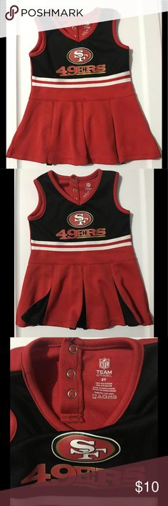 2T CHEERLEADER DRESS NFL San Francisco 49ers  super cute dress Pleated 2 color cheerleader skirt  detailing in team Color  , 3 snap button closure at the back Costumes Dance