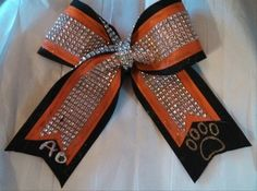ORANGE and BLACK Grosgrain Bow with Silver Rhinestone Overlay