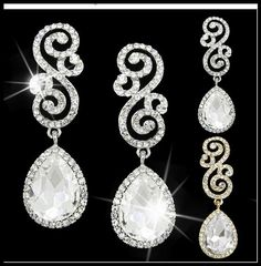 Sparkling Silver S Austrian Diamante Crystal Big Drop Earrings Party/Wedding UK