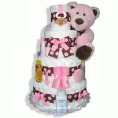 Brown & Pink 4 or 5 Tier Diaper Cake at DiaperCakeWalk.com