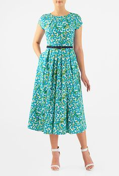 Floral print pleat neck crepe dress #eShakti