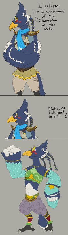 In the end, clothes don't make Revali look good; Revali makes CLOTHES look good. | The Legend of Zelda: Breath of the Wild | Know Your Meme by rubricmarine