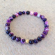 Bracelets - Transformation, Purple Agate Mala Bracelet
