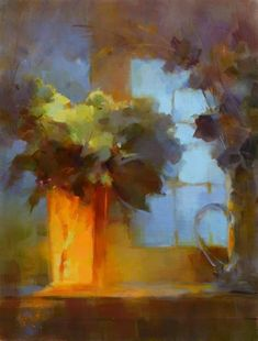 Arrangement in Orange & Blue by Rita Curtis Oil ~ 24 x 18 Painting Still Life, Paintings I Love, Tree Paintings, Abstract Landscape, Landscape Paintings, Abstract Art, Acrylic Painting Flowers, Pastel Art, Painting Inspiration