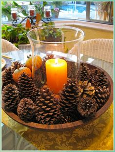Fall Decorating Ideas - Pine Cone Crafts for Kids #Fall #Decorating #Ideas #Pine #Cone #Crafts #for #Kids Thanksgiving Centerpieces, Table Centerpieces, Centerpiece Ideas, Diy Thanksgiving, Pinecone Centerpiece, Quinceanera Centerpieces, Centerpiece Flowers, Thanksgiving Traditions, Wedding Centerpieces