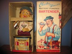 """Vintage Charlie Weaver Bartender Battery Operated Toy  """"SMOKING EARS! With Box""""  #Rosco"""