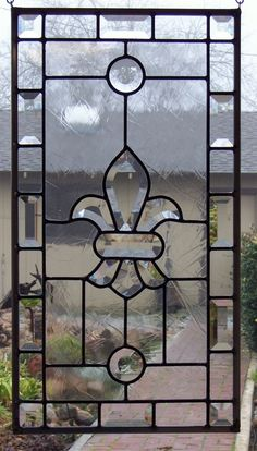 Fleur de Lis Stained Glass Window by DebsGlassArt on Etsy