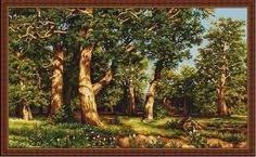 The Oak Grove by Luca-S - Cross stitch kit, big size counted cross stitch, forest, landscape Counted Cross Stitch Patterns, Cross Stitch Embroidery, Cross Stitches, Tapestry Kits, Oak Forest, Oak Grove, City Landscape, Forest Landscape, Needlepoint Kits