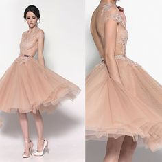b76c52fbe979e New Fashion Romantic Cheap Short Tulle Champagne Cocktail Dresses With Open  Back Knee Length Party Dress