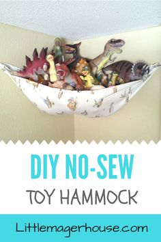 Make a no-sew DIY stuffed animal storage hammock for toys and stuffed animals fo.Make a no-sew DIY stuffed animal storage hammock for toys and stuffed animals for your kids' room. Get rid of the clutter. I made one for free using two things I Stuffed Animal Net, Stuffed Animal Hammock, Stuffed Animal Storage, Organizing Stuffed Animals, Sewing Stuffed Animals, Stuffed Toys, Toy Storage Solutions, Diy Toy Storage, Storage Ideas