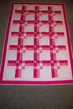 Pink and White Quilt w/ Dragonfly Quilting by GoldCityCreations, $100.00