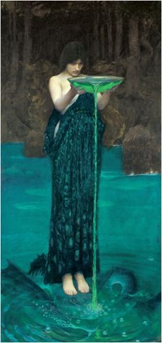 John William Waterhouse.  Circe Invidiosa (Circe Poisoning the Sea).  1892.  Oil on canvas.One of my very favorites of all time.Beautiful!