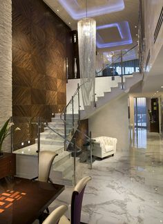 Awesome Interior - Jade Ocean Penthouse by Pfuner Design Home Stairs Design, Modern House Design, Home Interior Design, Room Interior, House Stairs, Cool Rooms, Ceiling Design, Ceiling Detail, Architecture Design