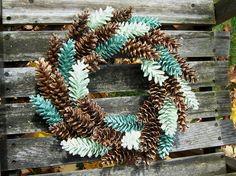 Unique Pine Cone Wreath with Accents of Green.  Door Wreath, Wall Decor, Gifts, Pinecone Wreath, Front Door Wreath. www.etsy.com/shop/NaturesCraftSupply