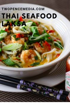 Thai Seafood Laksa, Prawns and Squid, this is easy healthy quick. Thai Soup, Best Thai, Laksa, Prawn, Seafood, Curry, Lovers, Chicken, Healthy