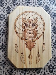 Owl and Key in Dream Catcher Wood Wall Hanging Decor Lightly Stained Pyrography Wood Burning Wood Burning Tips, Wood Burning Techniques, Wood Burning Crafts, Wood Crafts, Pyrography Patterns, Wood Carving Patterns, Wood Patterns, Wood Burning Stencils, Woodworking Projects Diy