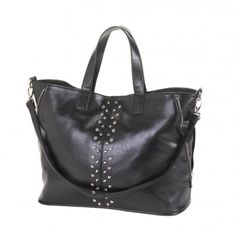"""Take the expressway to undeniable style with this gorgeous tote on your arm. The black leatherette construction, oversize design, and stud detailing will make this your go-to bag for day and night. Item weight: 1.2 lbs. 17½"""" x 6"""" x 17"""" high. Polyurethane and fabric lining. UPC: 849179017934."""